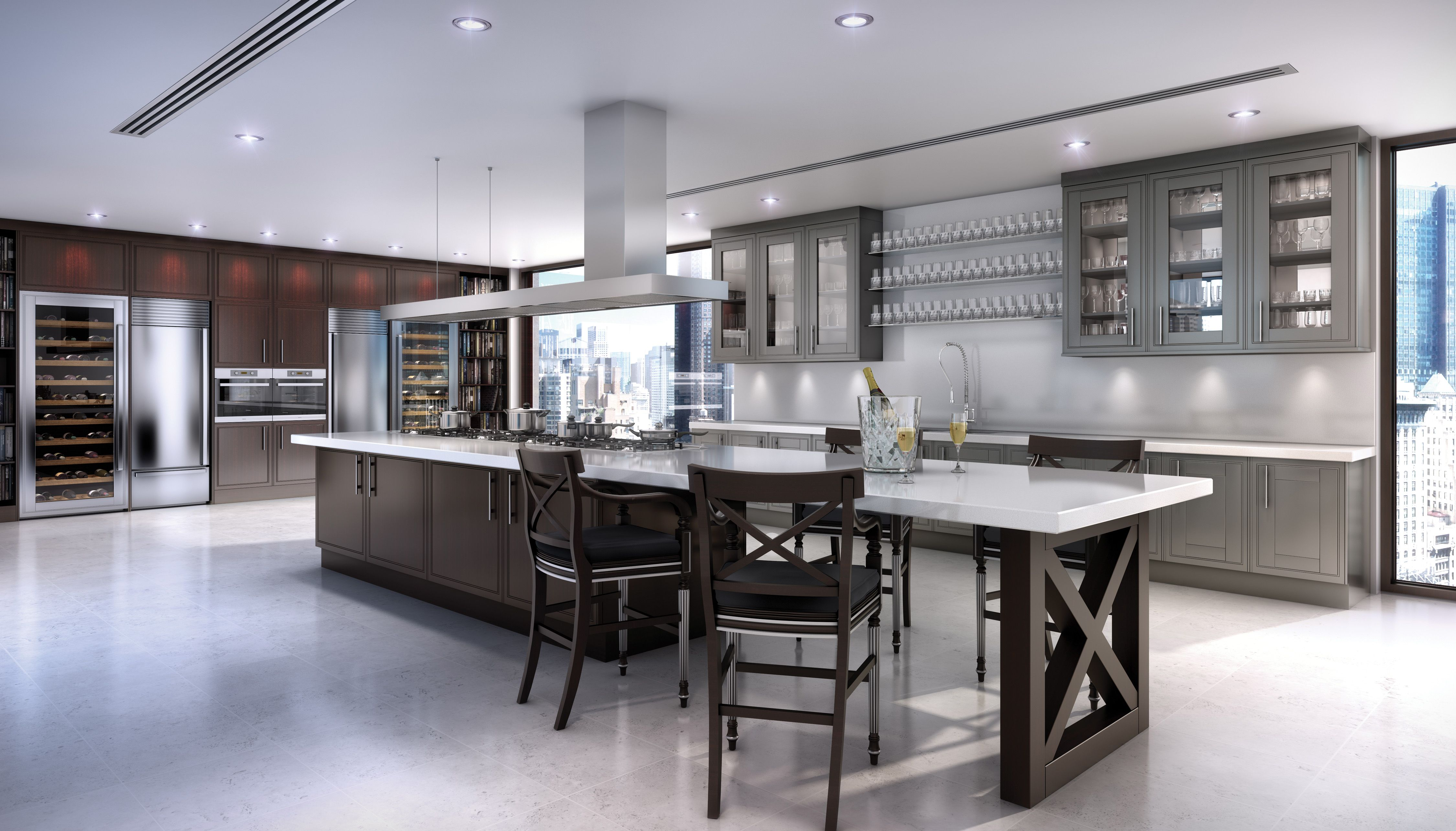 clive christian contemporary kitchen in walnut and grey photo weybridgeclivechristianinteriorscom - Clive Christian Kitchen Cabinets
