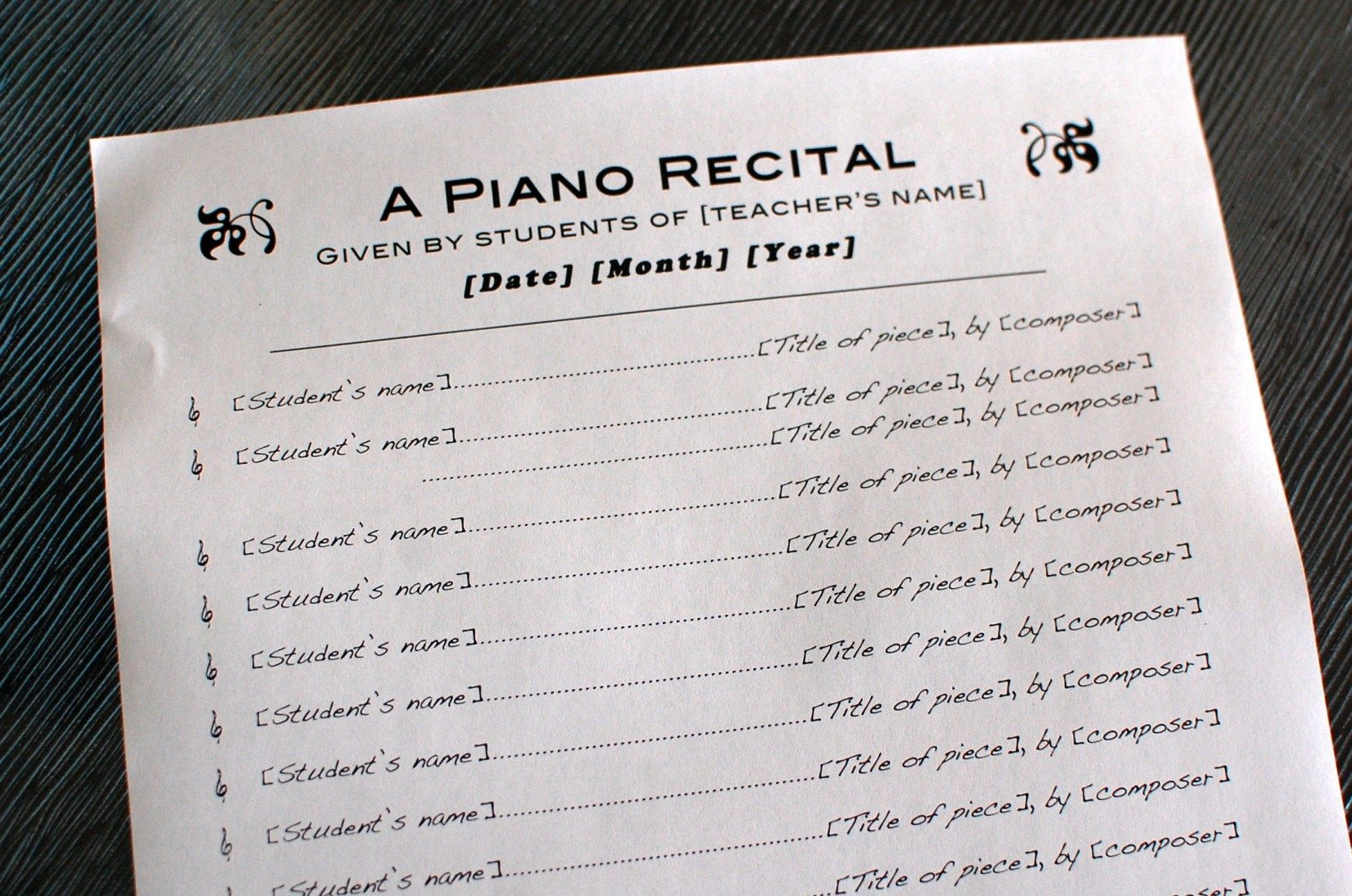 Todays Free Printable Is A Template Of A Piano Studio Recital