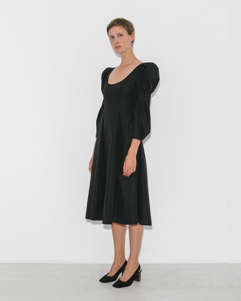 Khaite Edwina Dress In Black The Dreslyn Dresses Mid Length Dresses Fashion [ 1175 x 940 Pixel ]