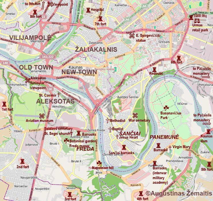Map Of Kaunas Fortress Districts Lithuania Pinterest Lithuania - Kaunas map