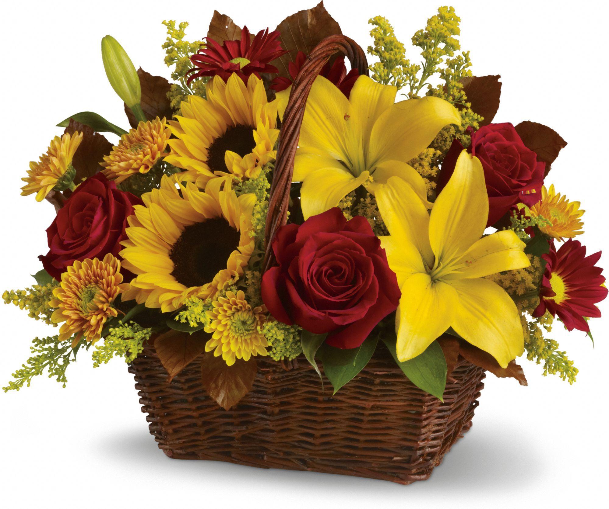 Golden Days Basket Basket flower arrangements, Flower