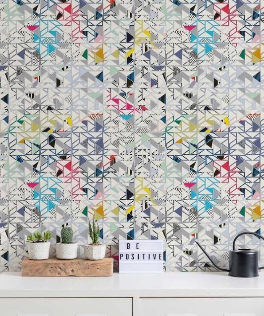 Bauhaus Wallpaper Colorful Geometric Wallpaper Milton King Geometric Wallpaper Wallpaper Interior Design Modern Wallpaper