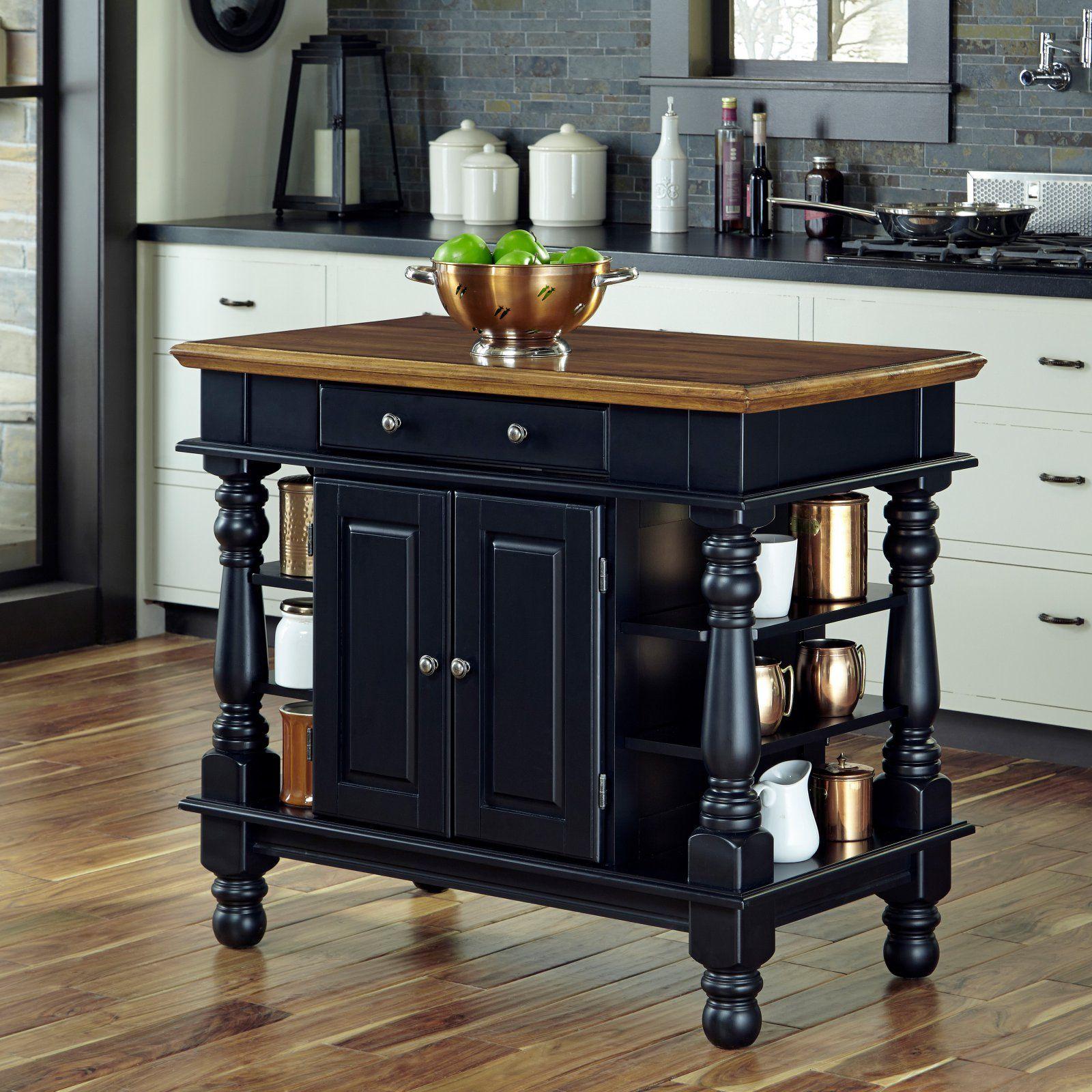 Home Styles Americana Black Kitchen Island In 2020 Black Kitchen Island Americana Kitchen Black Kitchens