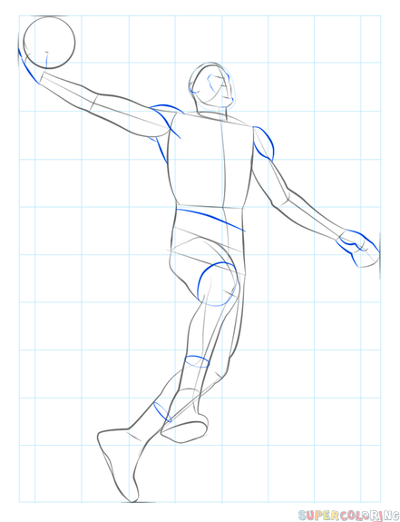How To Draw A Basketball Player Dunking Step By Step Drawing Tutorials Basketball Players Basketball Drawings Drawing Tutorial