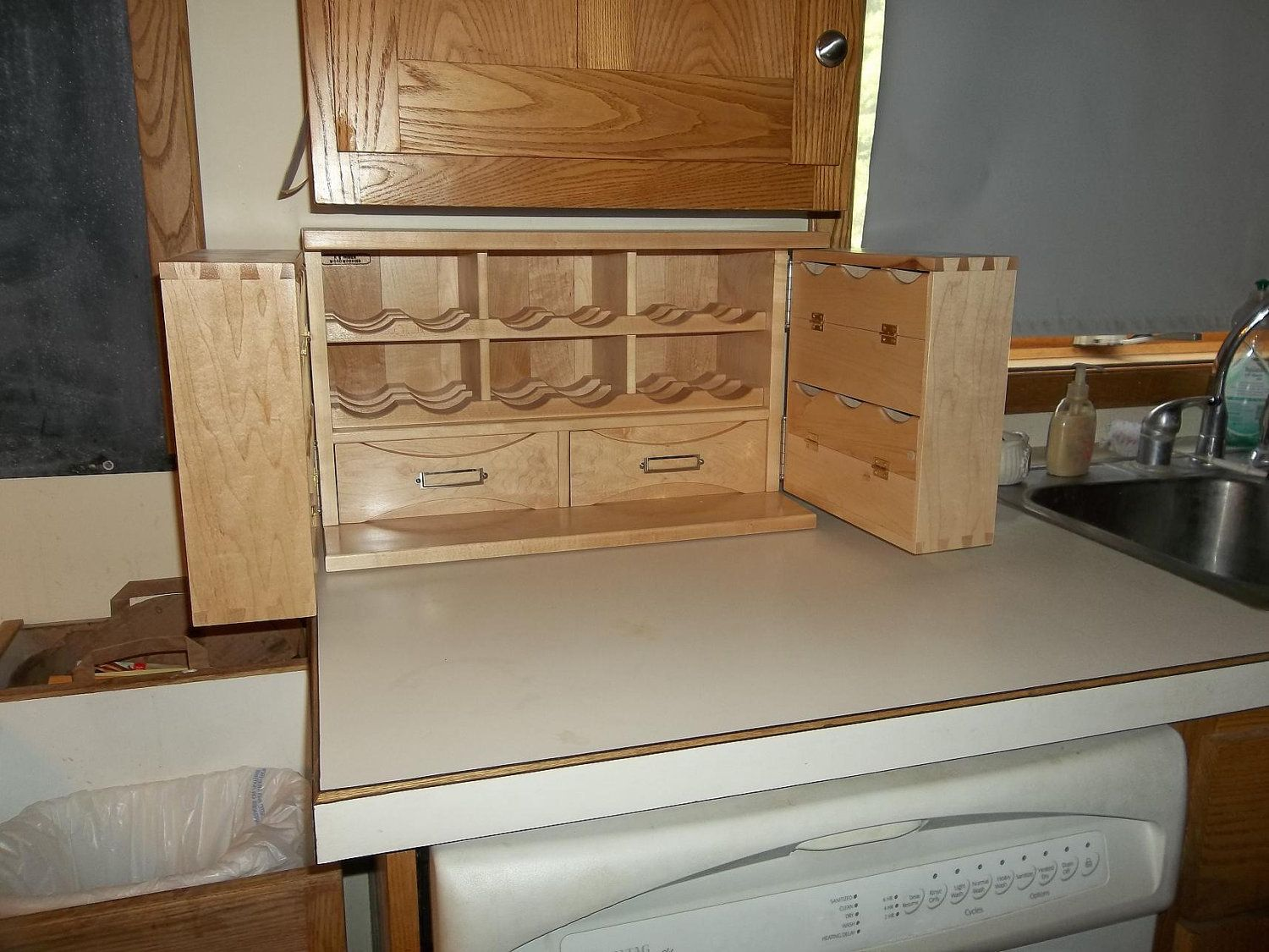 Small Countertop Tea Storage Cabinet Made When Ordered With