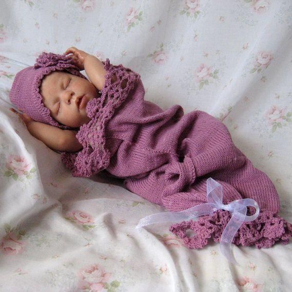 Snow Baby Cocoon und Hut mit Lochmuster häkeln stricken | Baby ...