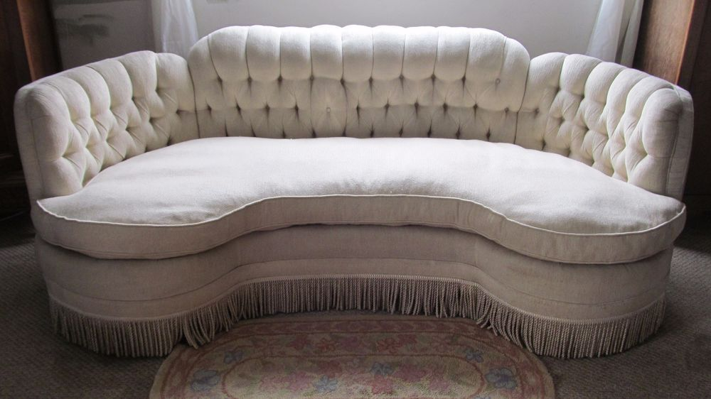 Antique Sofa ArtDeco Old Hollywood Glam Chenille W/down Cushion 30s 40s  Lovely