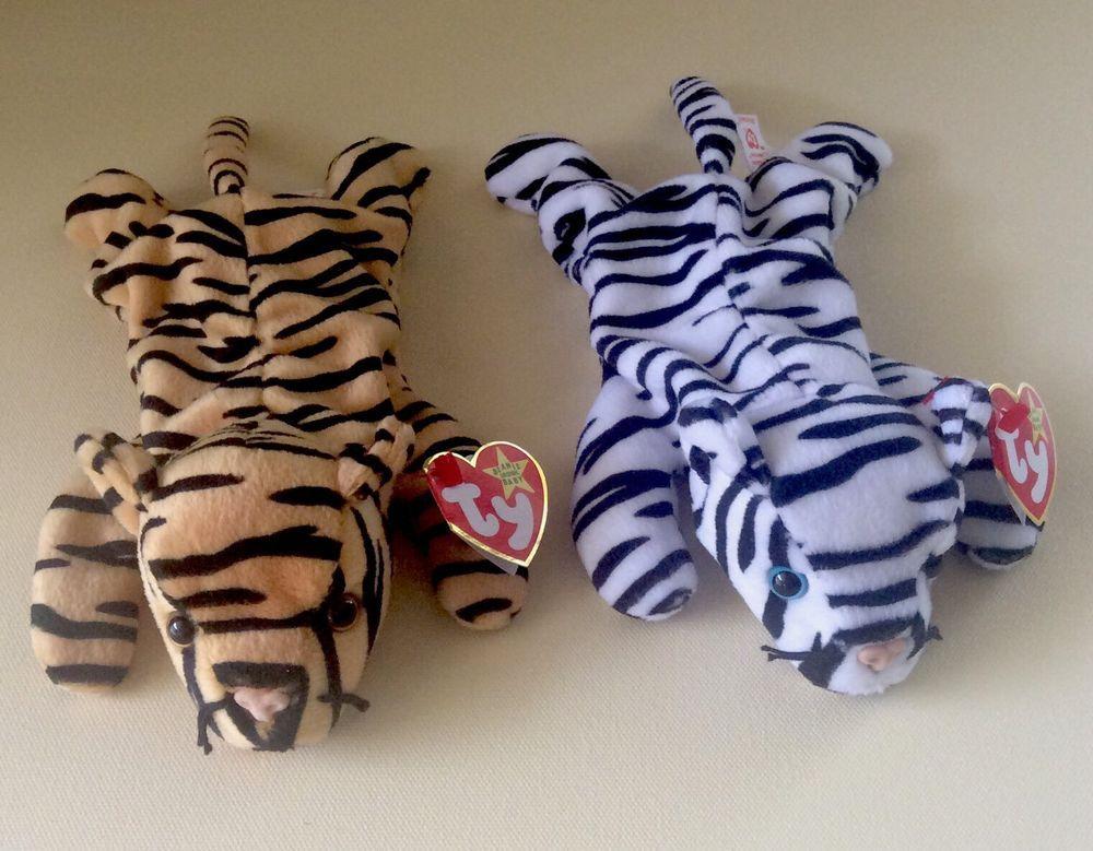 6744d3321dd TY BEANIE BABIES Tigers Set STRIPES BLIZZARD Stuffed Animals Christmas Gift  Kids