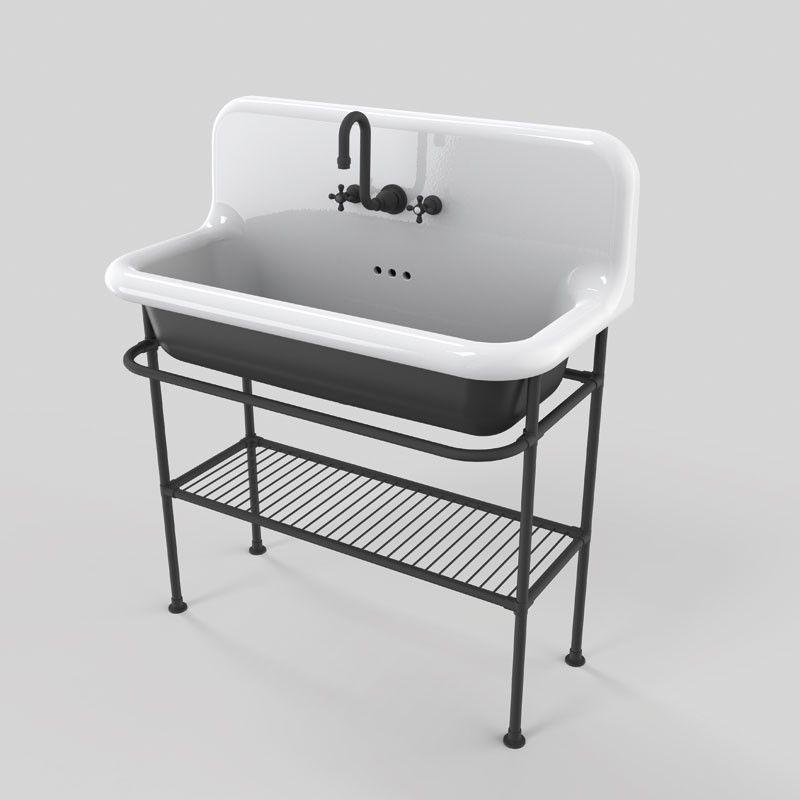 vasque rtro en cramique 90 cm true colors noir - Vasque Retro