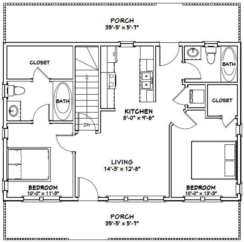 36x24 House 2 Bedroom 2 Bath 812 Sq Ft Pdf Floor Plan Etsy Small House Floor Plans Tiny House Floor Plans Cabin Floor Plans