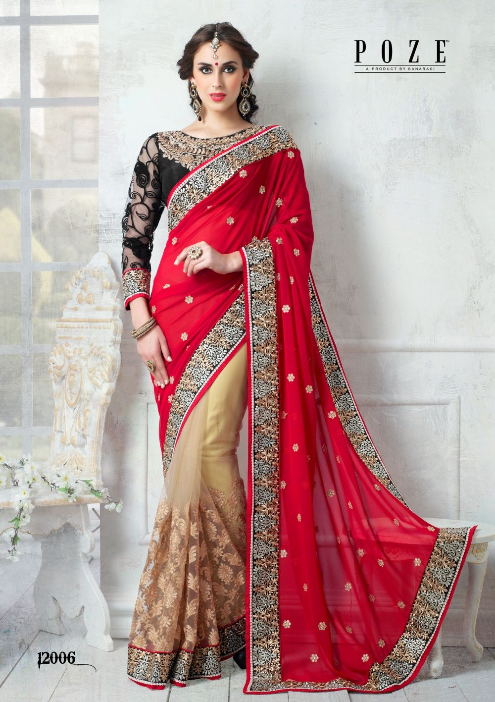 db107d51f1 Red Georgette with beige net #designer #weddingsaree with golden embroidery  work.