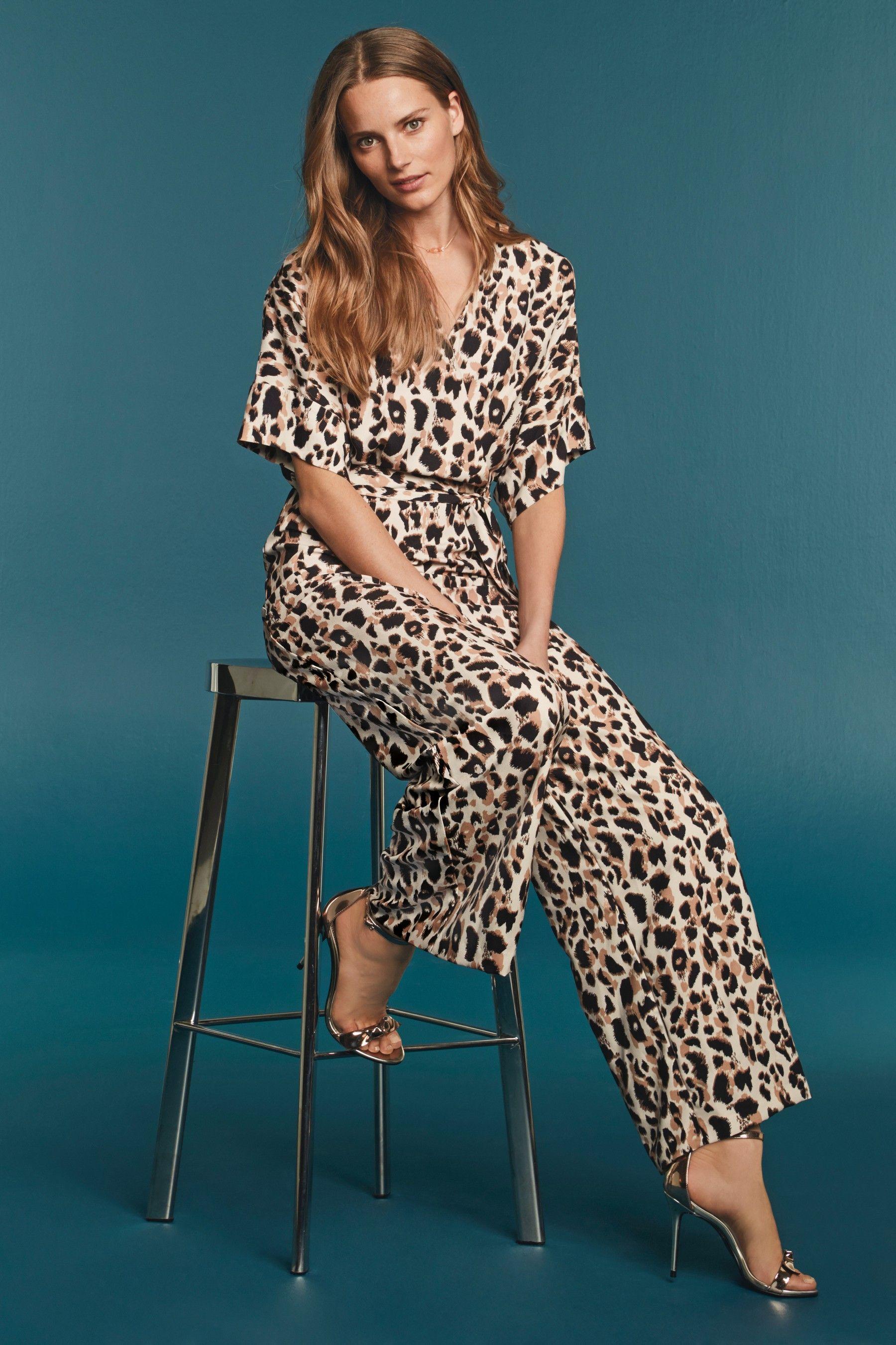 e07ae9a41549 Womens Next Animal Print Wrap Jumpsuit - Cream