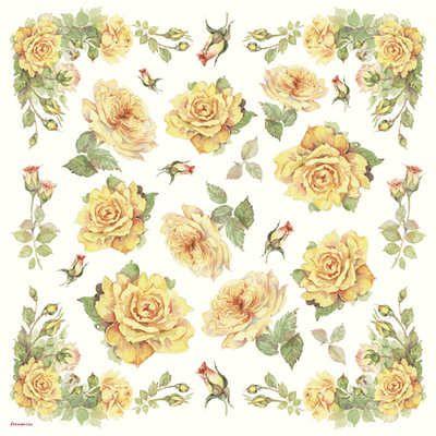 DFT056 Yellow Tea Rose Decoupage Tissue Paper