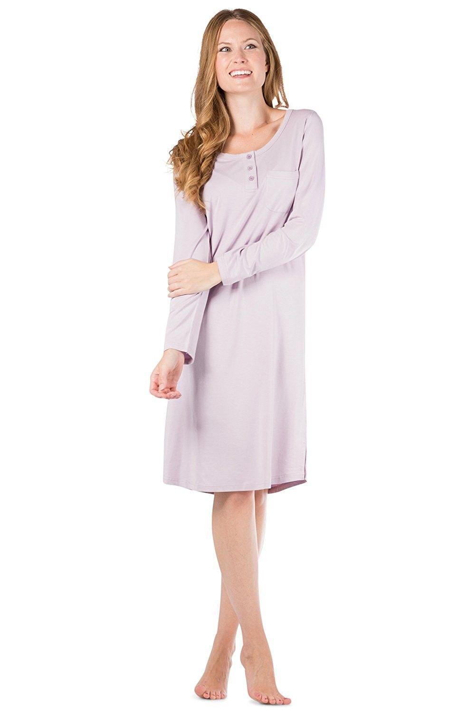 Women s Ecofabric Henley Nightshirt - Long Sleeve - Below Knee ... aeec56922