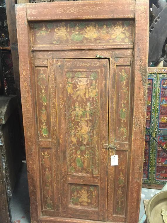 Photo of Antique Door 18C Ancient ,yoga, barn door,Spiritual Antique Indian Tribal Hand Carved Vintage…