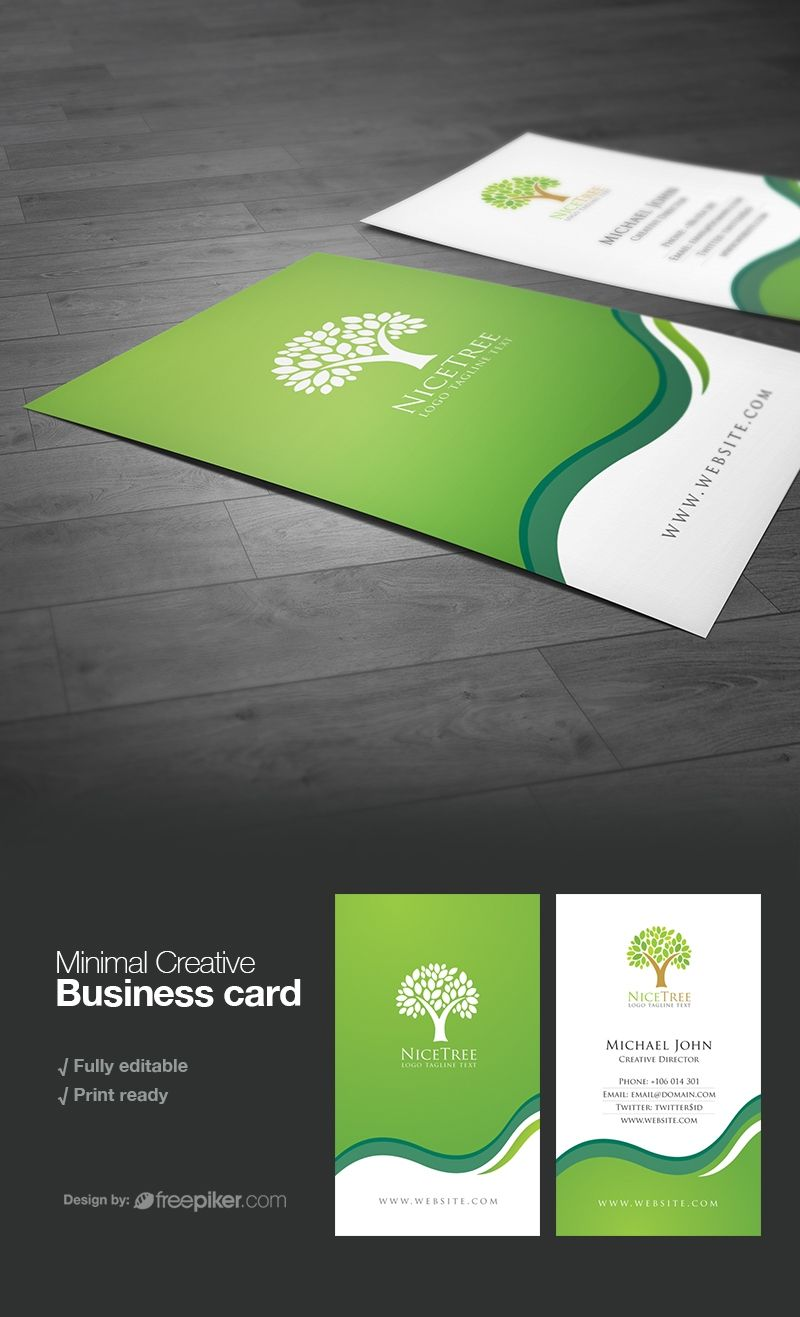 Creative Green Business Card Business Cards Creative Business Card Logo Design Cool Business Cards