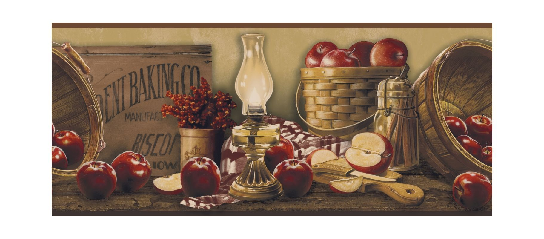 York Wallcoverings KE4914BD Border Book Apple Basket Border Beige /  Burgundy Home Decor Wallpaper Borders