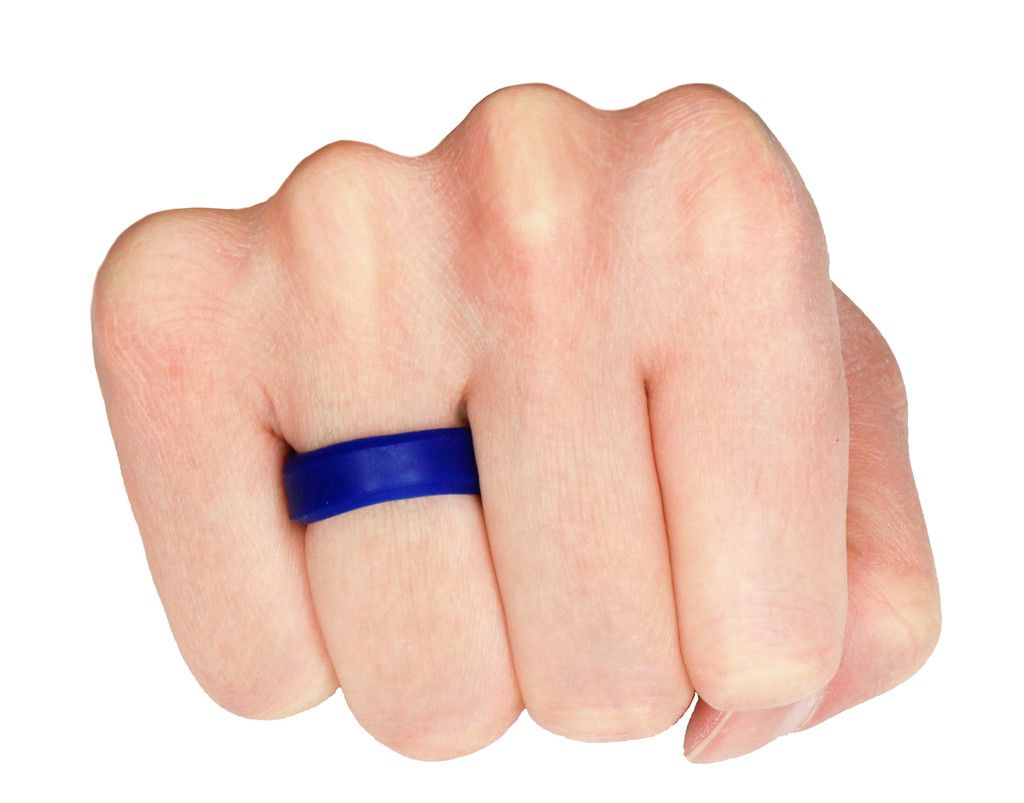 Beveled Blue Silicone Wedding Ring Designed By Knot Theory Keep The Hubby Safe Blue Silicon
