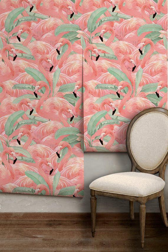 Tropical flamingo repositionable peel n stick wallpaper custom lengths to 15 feet