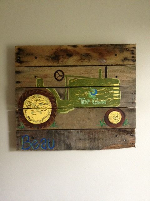 John Deere Home Decor : Tractor boys rustic wall art old farm barn bedroom