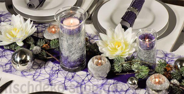 Tischdeko weihnachten lila  Tischdeko Weihnachten Lila mit Seerosen | Tischdeko Weihnachten ...