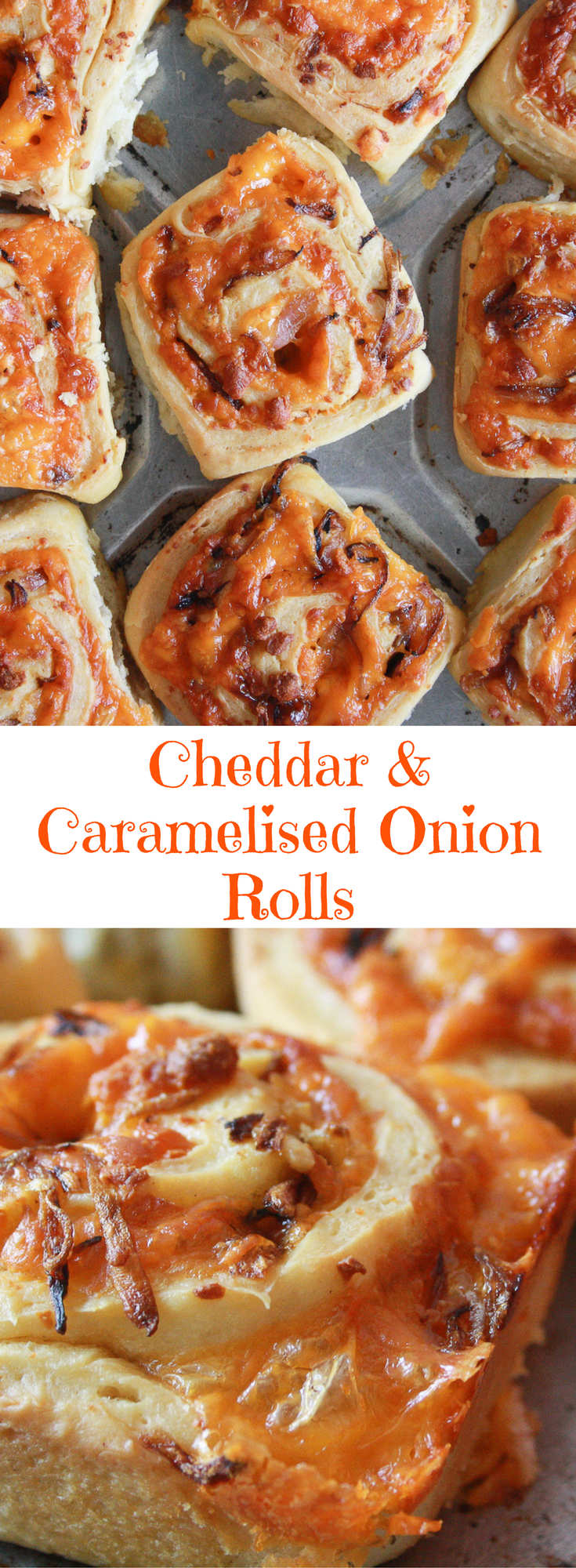 Soft and fluffy, eggless, savoury rolls filled with orange cheddar and caramelised onions! #Caramelised #Cheddar #Eggless #Onion #Rolls #savoury Baking