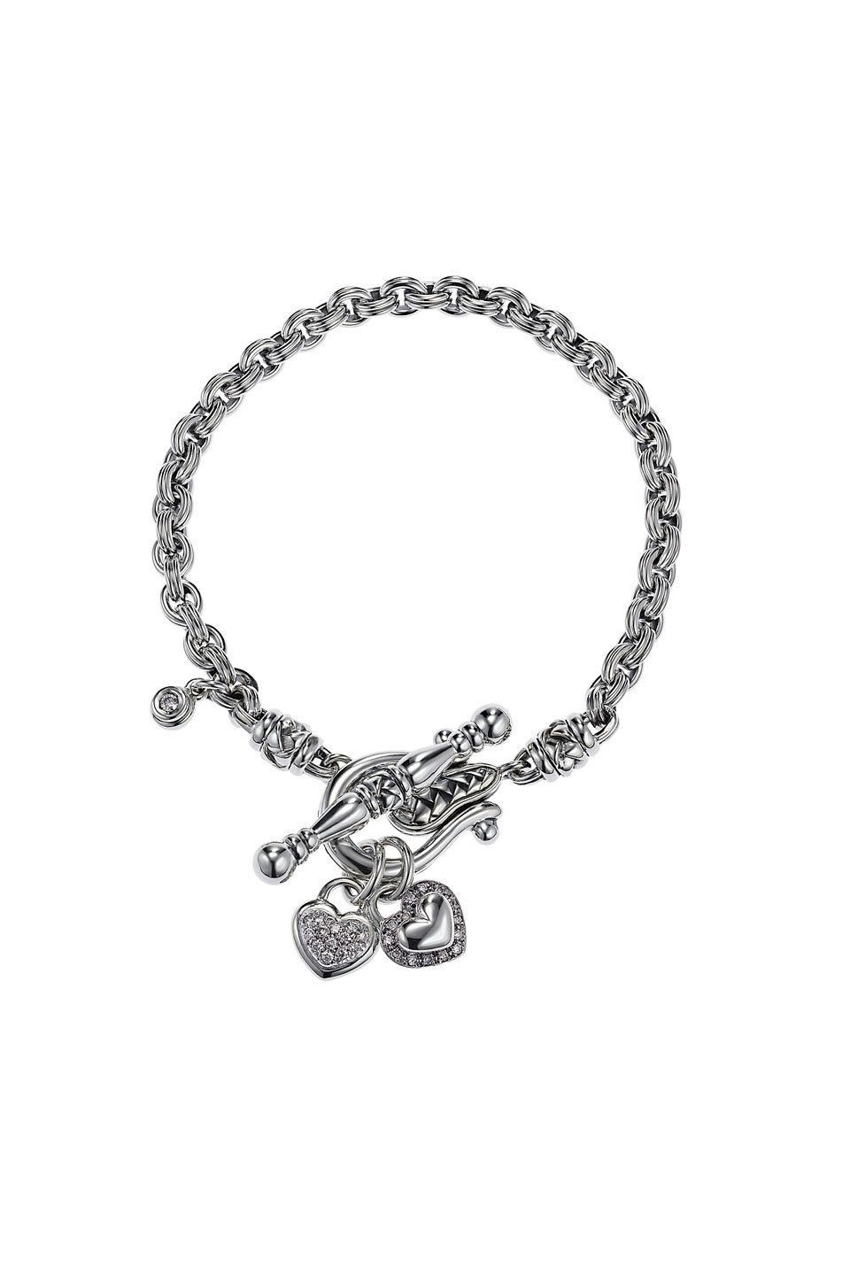 Scott Kay Sterling Silver Pave Diamond Heart Toggle Bracelet