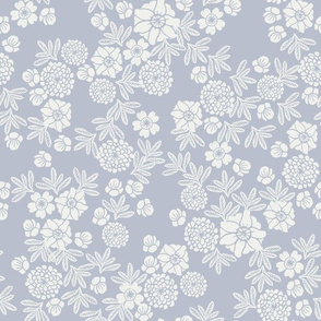 Fabric by the Yard woodcut floral - sfx4106, gray dawn, dusty blue, blue floral, floral