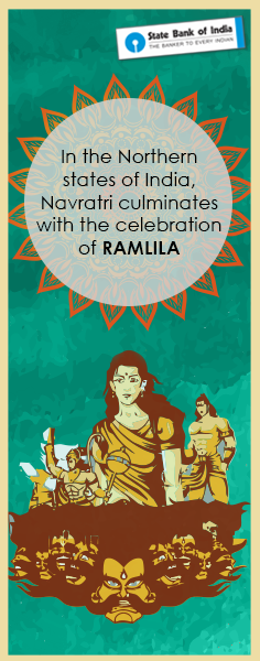In the Northen states of India, Navratri culminates with the celebration of Ramlila. It marks the end of the nine-day long fight between Lord Ram and his enemy Ravana. As always, good triumphs over evil. #NavratriDay9 #Navratri2016 #SBIFestiveFervour #Dussehra #Victory #Vijayadashami #NavratriColours #ColourDay9 #NavratriFacts
