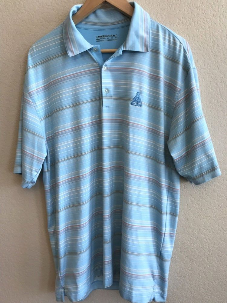 584cd8e1fb7c5 Nike Golf Men's Size Medium Dri-Fit Polo Shirt Light Blue Striped ...
