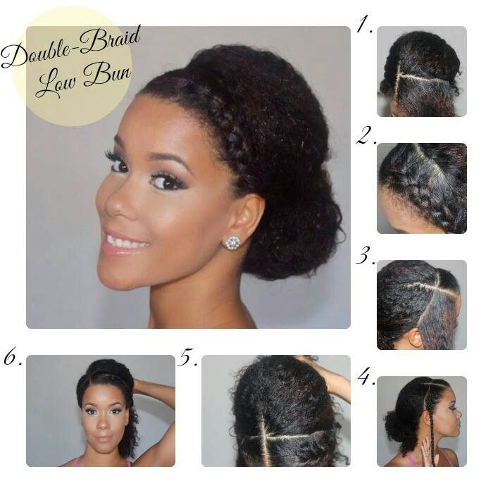 Double Braided Low Bun Natural Hair Styles Stylish Hair Curly Hair Styles