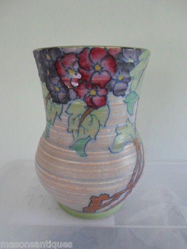 Charlotte Rhead Crown Ducal 3797 Hydrangea Pattern Vase Turn Of