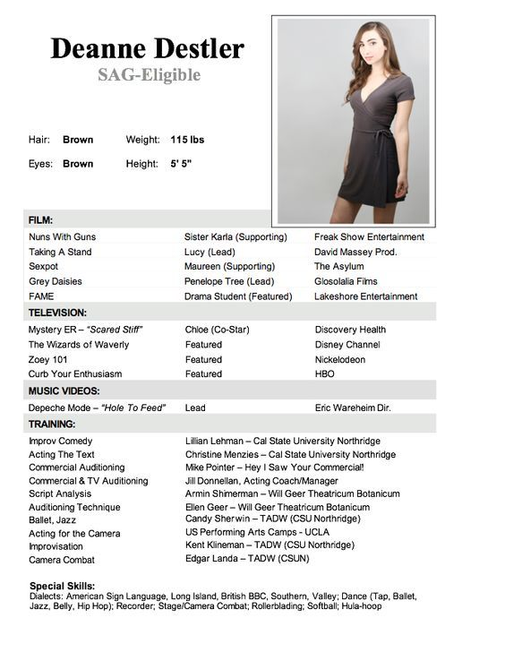 Child Actor Resume Template Projects to Try Pinterest Child - actress sample resumes