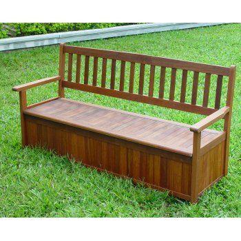3 Seat Hardwood Garden Storage Bench