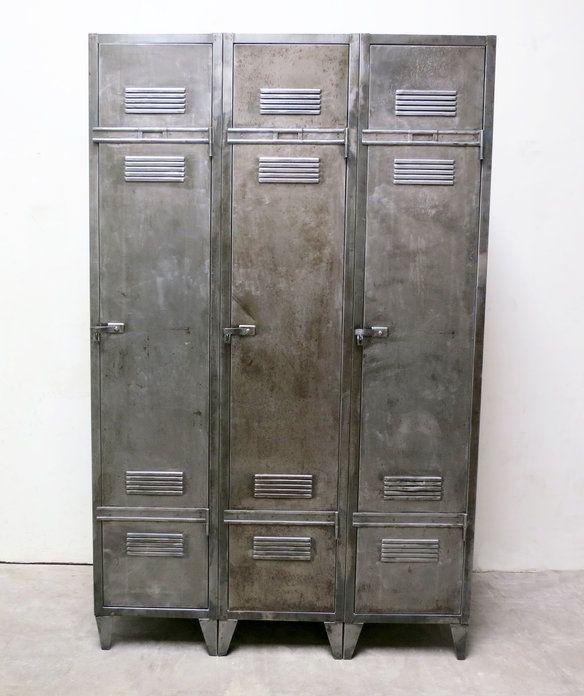 French Industrial Vintage 3 Door Locker Spind Kleiderschrank Schrank