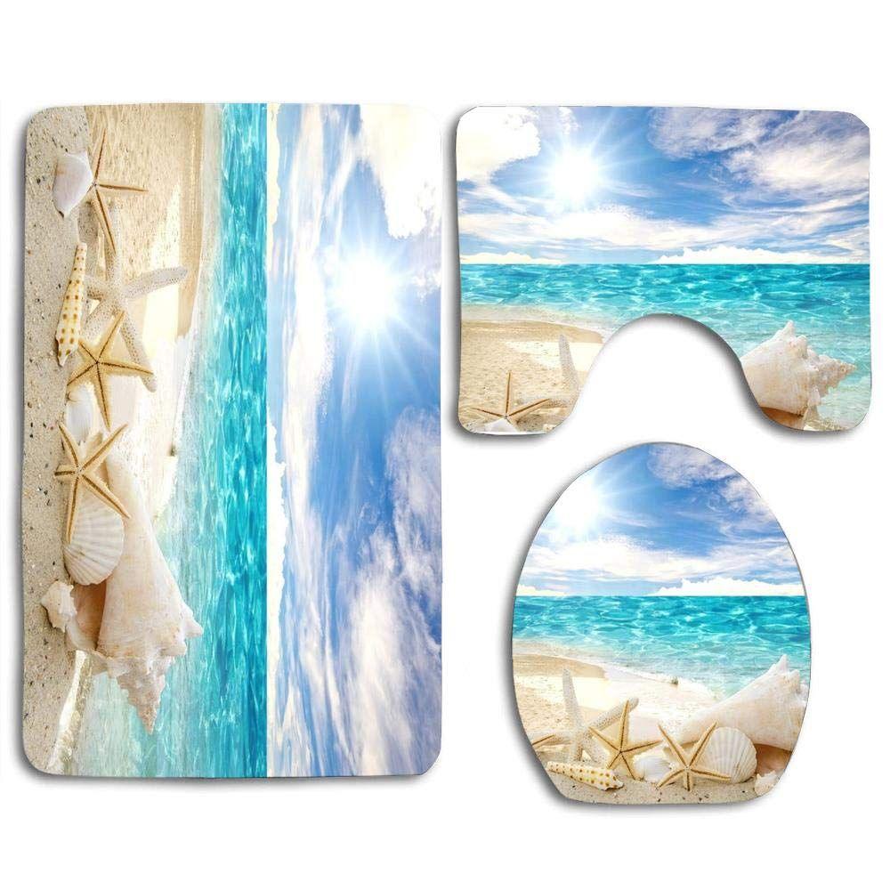 Beach Themed Bathroom Rug Sets