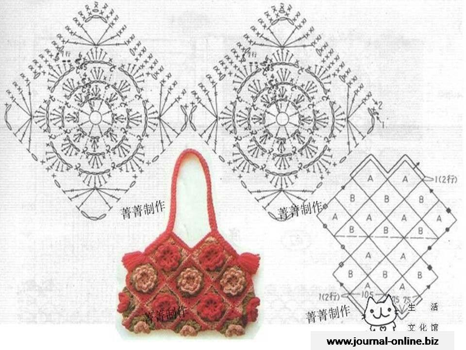 Bolso con patron | pattern cr | Pinterest | Patrones, Bolsos y Ganchillo