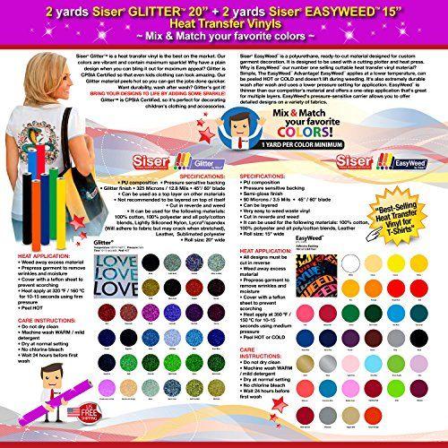 Wide 20 3 Yards Siser Glitter Heat Transfer Vinyl Mix /& Match your favorite colors GERCUTTER Store
