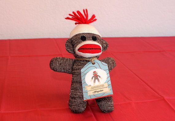 Sock Monkey Birthday Party  Custom Party Favor by PaperCowDesign, $6.00