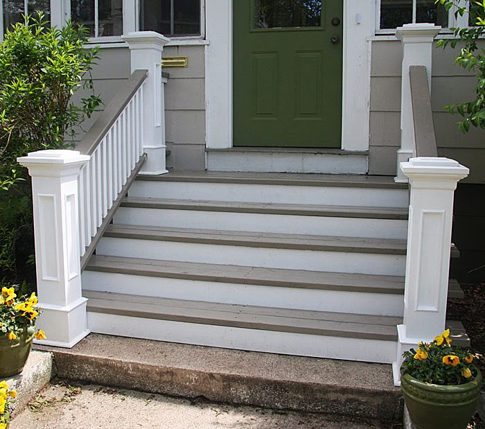 Best Front Steps Railings And Newel Posts Exterior Stairs 400 x 300