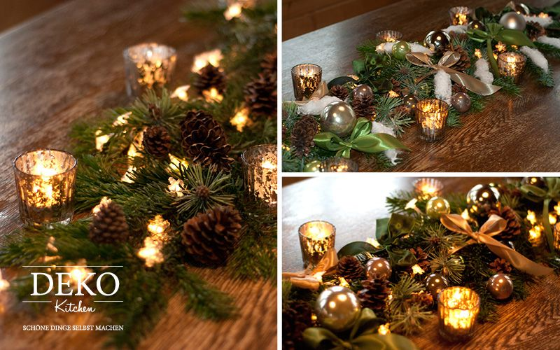 diy weihnachtliche tischgirlande selbst dekorieren mit tutorial diy deko selber machen. Black Bedroom Furniture Sets. Home Design Ideas
