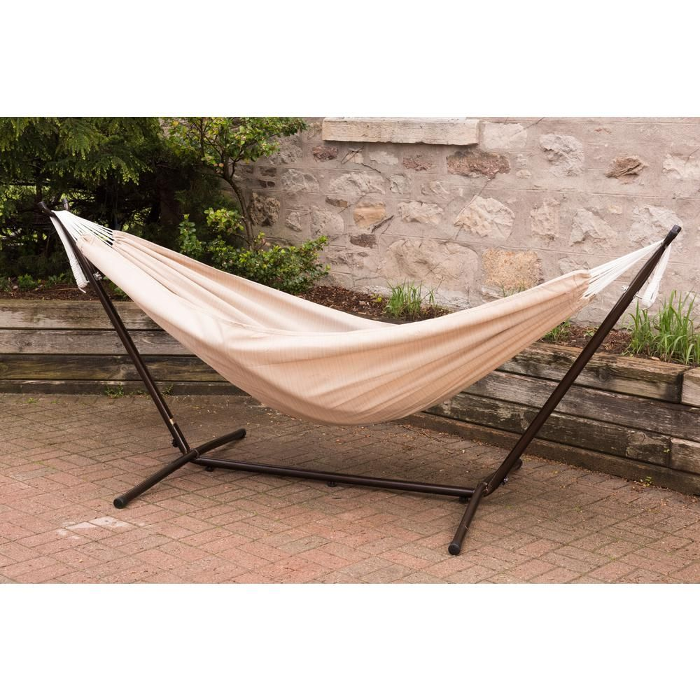 Vivere ft combo sunbrella hammock with steel stand in sand brown