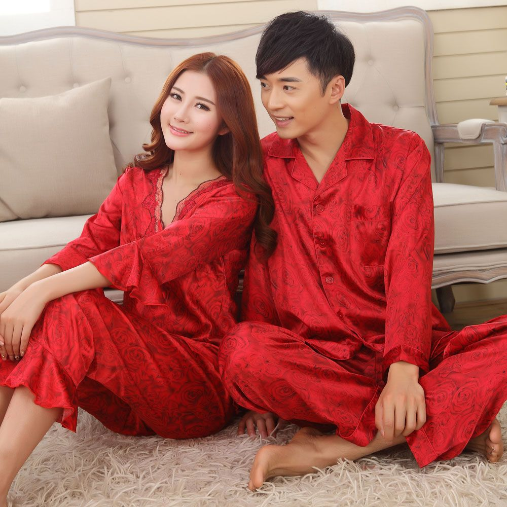 197850e66f Online Shop Faux silk mens pajama sets men sleepwear male sleep lounge  Chinese red wedding Pijamas for women couple pajamas female pyjamas