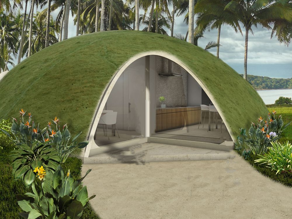 A wild proposal for domed houses made of inflated concrete for Building a concrete house