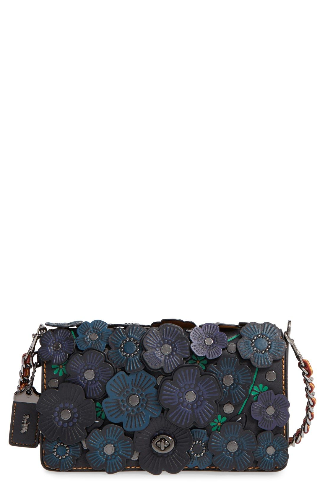COACH 1941  Dinky  Flower Appliqué Leather Saddle Bag  87785011ad1ab