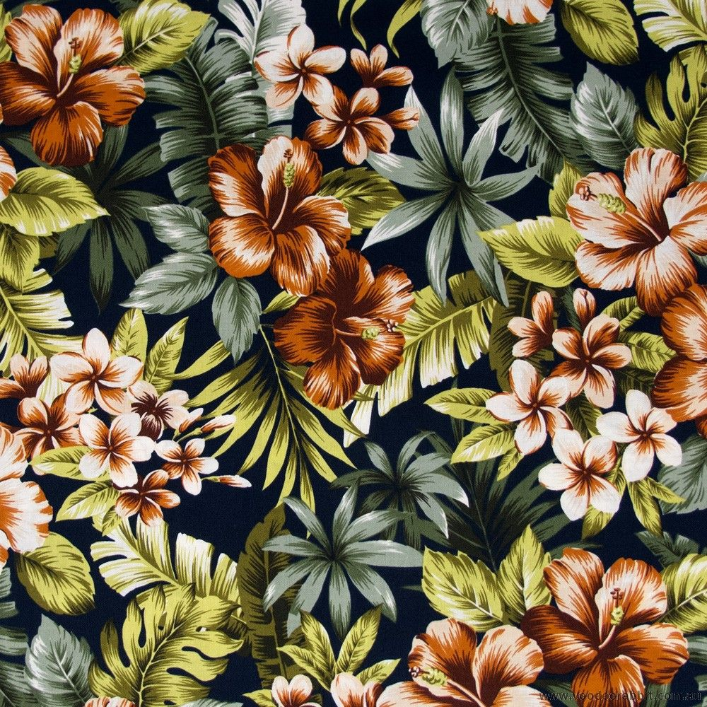 Japanese Hawaiian Orange Hibiscus Floral Navy Cotton