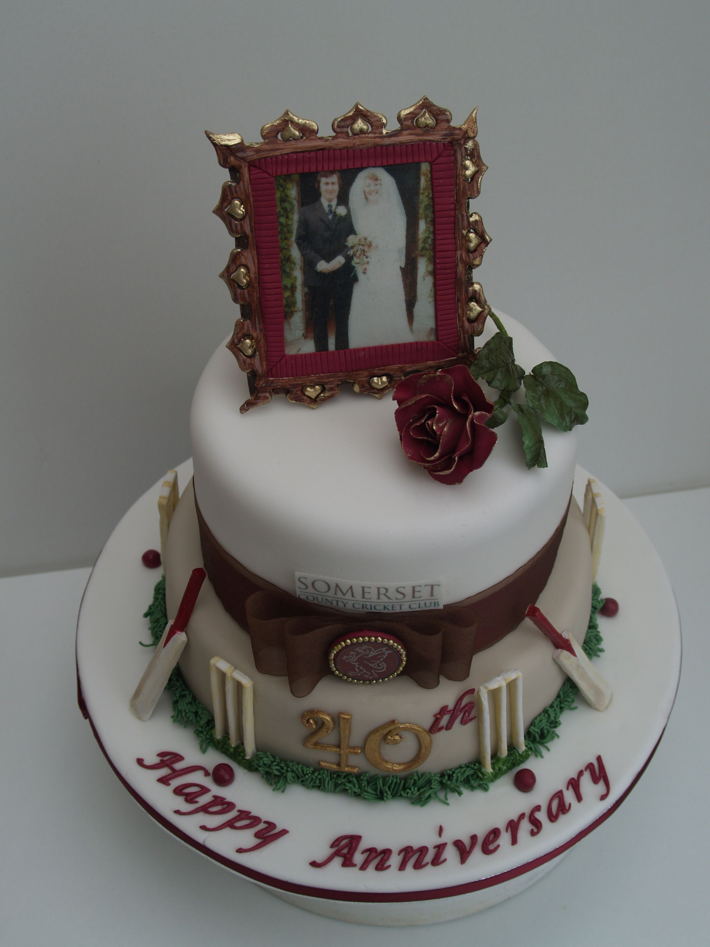 Lovely Cricket Themed 40th Anniversary Cake With Edible Picture And Frame   An Anniversary  Cake For Two