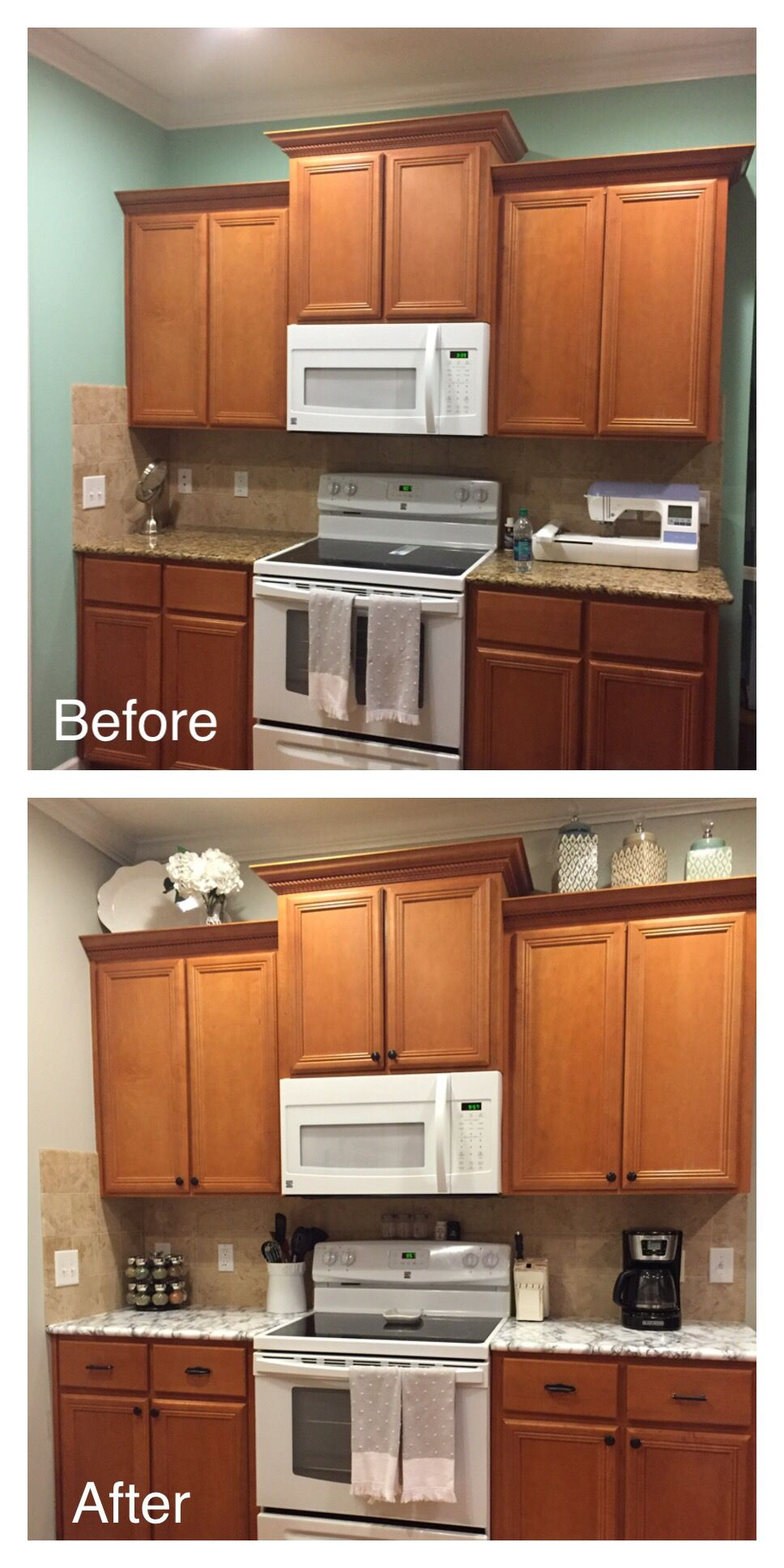 rental kitchen update: faux marble countertop= contact