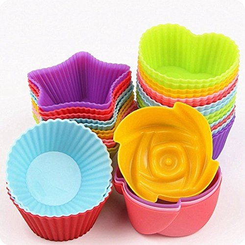 Unichart Reusable Silicone Baking Cake Molds Muffin Cups Nonstick