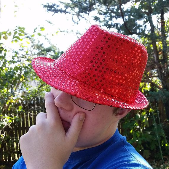 red Fedora Hat Unisex red sequin party hat Valentines Day  d6f4c5de67e3